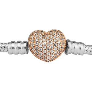 Image 4 - 100% 925 Sterling Silver Bracelets Bangles Rose Gold Pave Heart Clasp Bracelet for Women DIY Charms Jewelry pulseras Wholesale
