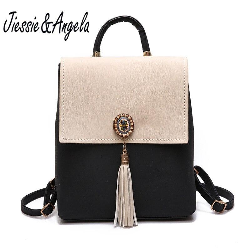 Jiessie Angela Women Fashion Backpacks Pu Leather School Bag Backpack For Teenage Girls Brand Ladies Vintage