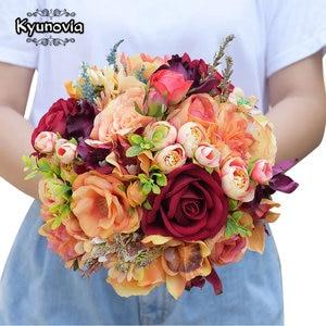 Image 2 - Kyunovia Silk Wedding Flower Dahlia Bouquet Wild Flowers Bridesmaid Bouquets Roses Orange Accents 3PCs SET Bridal Bouquet FE82