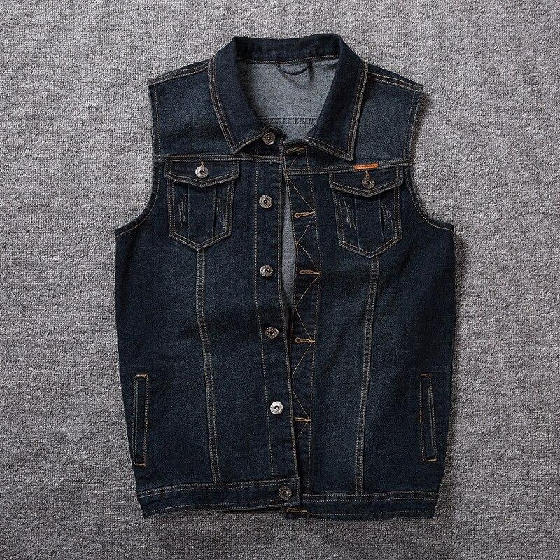 Coton Jeans Veste Sans Manches Hommes Plus Taille 5XL Foncé Bleu Denim Jeans Gilet Hommes Cowboy Denim Gilet Hommes Vestes 5XL 6XL 7XL 8XL