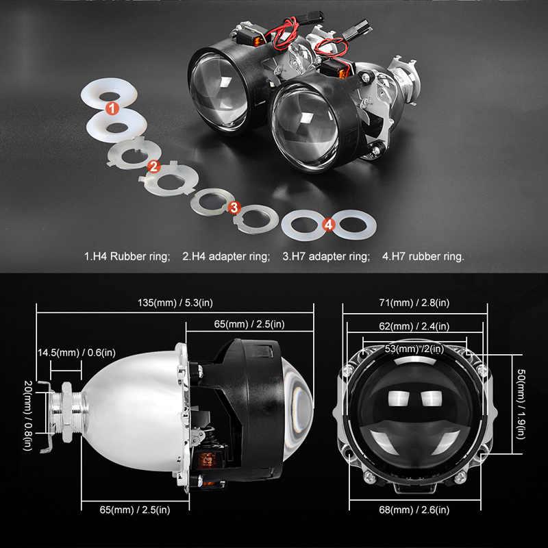 Универсальная 2,5 дюймов мини линзы для фар подходит H4 H7 разъем фар автомобиля использовать H1 HID лампы для DIY Модифицированная Замена Авто налобный фонарь