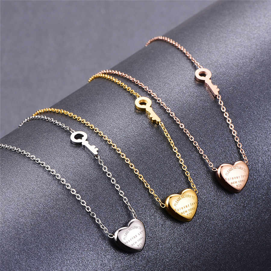 Martick Lovely Sweet Heart Pendant Necklace Rose Gold Color Key Design Link Chain Necklace Forever Love Letters For Woman P3