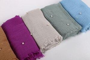 Image 3 - Bayan kabarcık pamuk boncuk kırışıklık eşarp şal buruşuk inci şal müslüman baş örtüsü viskon kışlık eşarplar 55 renk
