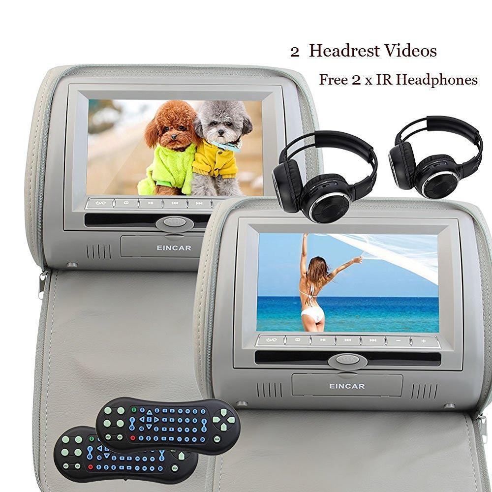 2 X 7 Car Headrest DVD Player HD Digital Screen 32-bit games USB SD FM&IR Transmitter&IR Headphones(Color optional) (Gary) niorfnio portable 0 6w fm transmitter mp3 broadcast radio transmitter for car meeting tour guide y4409b