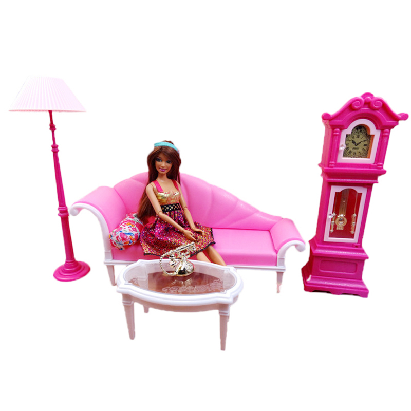New Arrival Doll Sofa Set Retro Aesthetic Living Room With Floor Clock + Lamp + Table + Pillow For Barbie Furniture DIY Toys