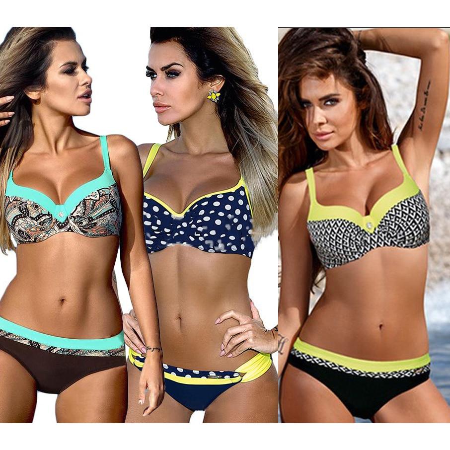 Bikini Set 2018 Women Sexy Swimsuit Push Up Brazilian Bikini Top Yellow Bikini Bathing Bather Girl Beach Swimwear Female Bandage
