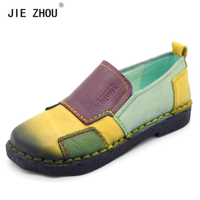 2019 Soft Women Shoes Women Loafers Patches stitching Flat Shoes Woman Summer Flats Soft Candy colors