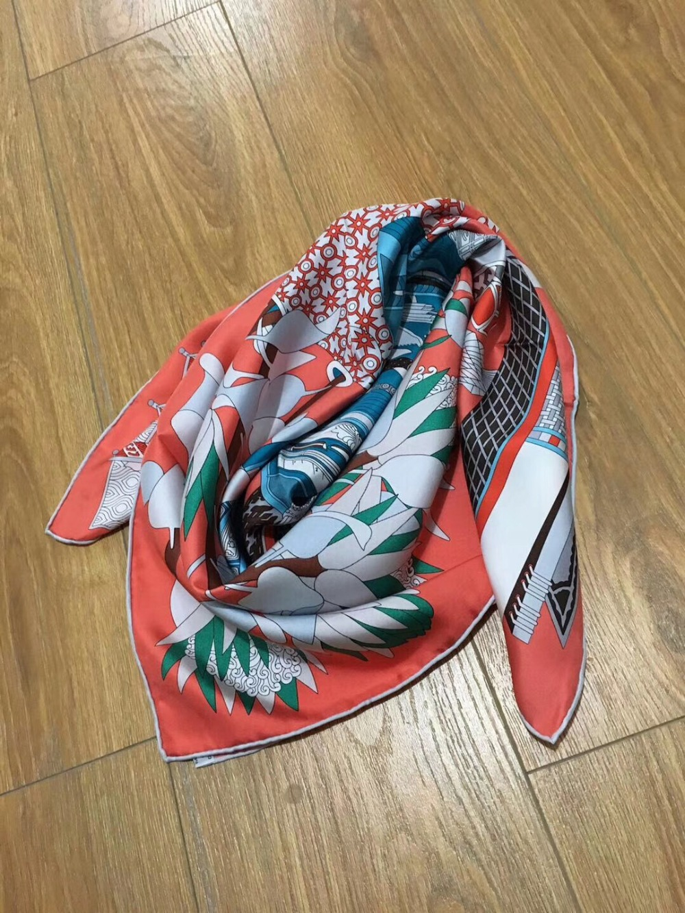 2019 New Arrival Fashion Elegant Brand Colorful 100% Silk Scarf 90*90 Cm Square Shawl Twill Wrap For Women  Free Shipping