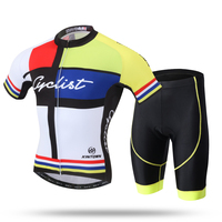 New 2016 Yellow Team Cycle Short Sleeve Jersey and Shorts Kit MTB Downhill Roupa Ciclismo Cyclist Bike Bicycle Clothing Set