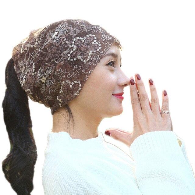 Sección fina de encaje flor doble uso mujeres bufanda sombrero cabeza calva  química cap señora meses ac3313a1d472