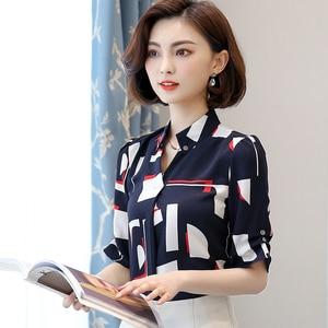 Image 4 - Élégant femmes en mousseline de soie à manches courtes chemise été 2019 nouvelle mode impression col en V blouses bureau dames grande taille hauts