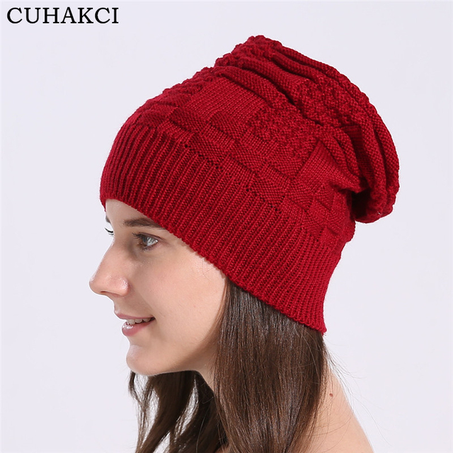 c4d60adcde6 CUHAKCI Unisex Skullies Winter Hat Warm Female Men Wool Knitted Hats Women  Beanies Thick Casual Beanies Red Winter Cap Black