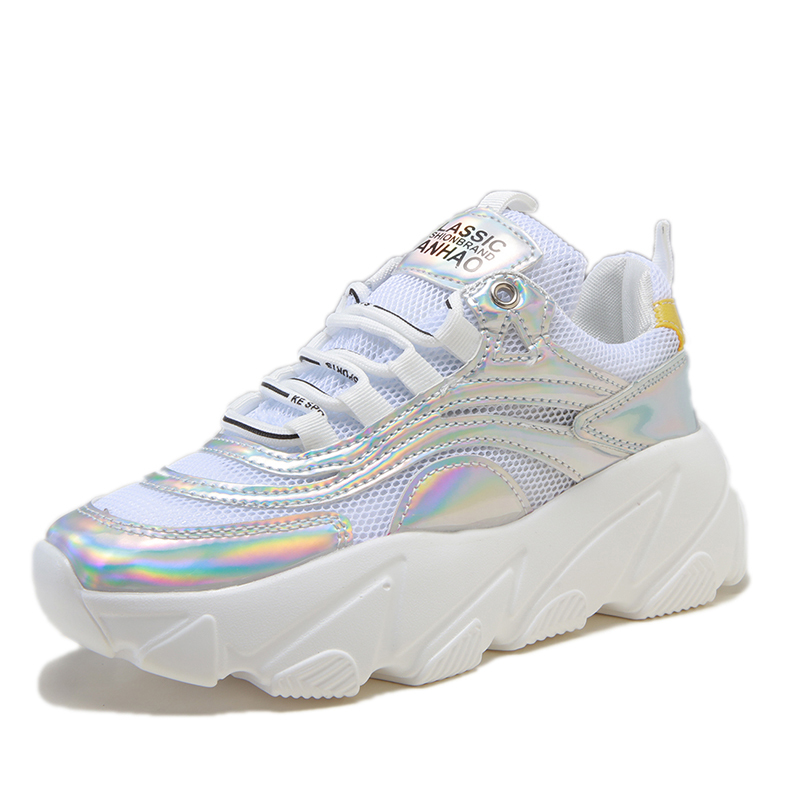 2019 Spring New Gold Chunky Sneakers Women Shoes Harajuku Casual Dad Shoes Breathable Mesh Platform Sneakers Silver Sneakers