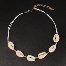 Simple Beaded Natural Shell Necklace for Women Fashion Clavicle Chain Rope Choker XL668