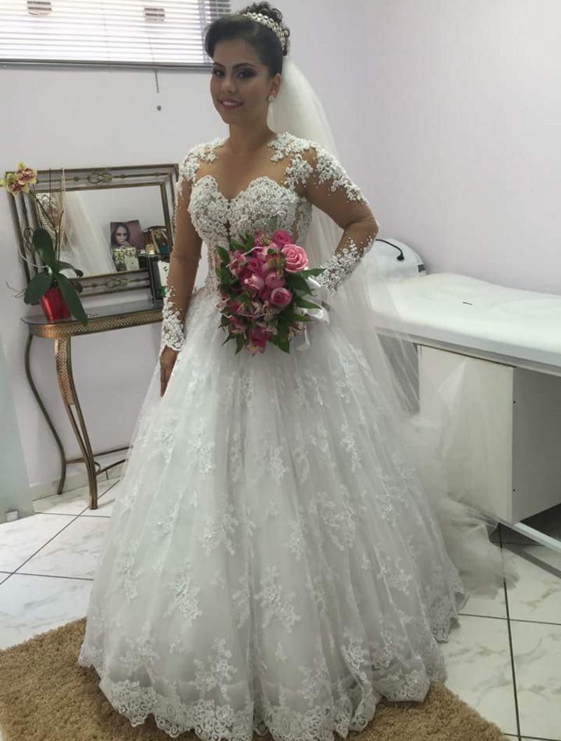 Long sleeve lace wedding dress 2016 turkey weding weeding for Lace wedding dress with pearls