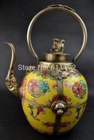 Home Decoration Tibet silver Ceramic teapot,Chinese antique big Cloisonne lion flagon