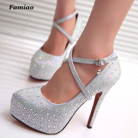 FAMIAO Women High Heels Prom Wedding Shoes Lady Crystal Platforms Silver Glitter Rhinestone Bridal Shoes Thin