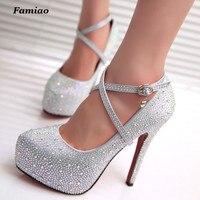FAMIAO Women High Heels Prom Wedding Shoes Lady Crystal Platforms Silver Glitter Rhinestone Bridal Shoes Thin