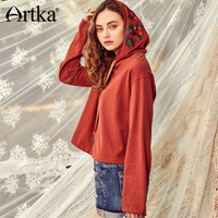 Artka Women S New Spring Hooded Embroidery Casual Caramel Pullover Hoodie VA10482C