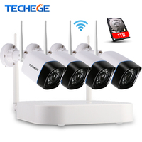 4CH CCTV System Wireless NVR Kit P2P 720P HD Outdoor IR Night Vision Security 1 0MP