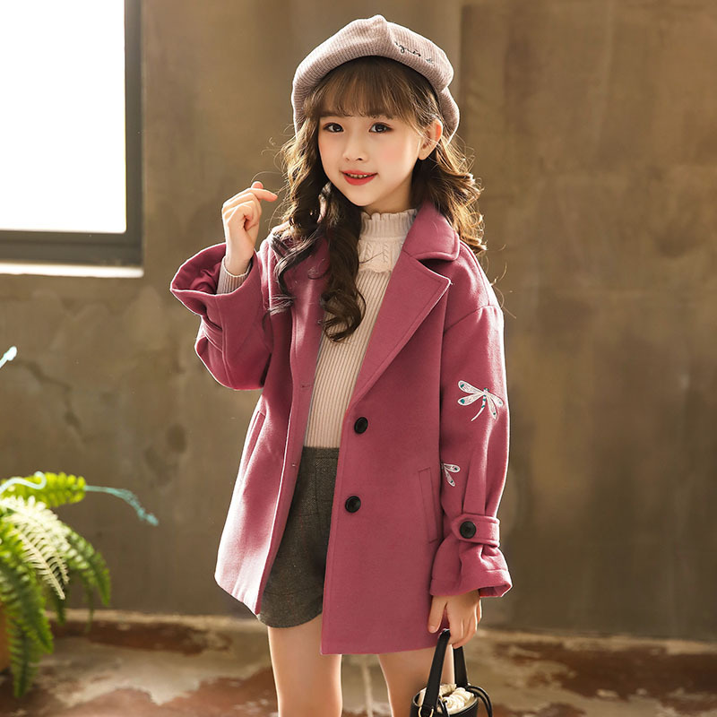 Brand New 2018 Winter Girls Thickened Woolen Coat Kids Cartoon Coat Toddler Embroidery Jackets Baby Coat Outfit Fashion#3462 цена