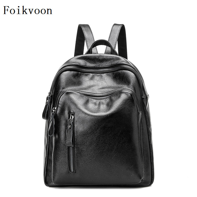 Foikvoon Backpacks Woman PU Leather Popular Women Bags Literature And Art Female Travel Backpacks Bags Leather School Bag