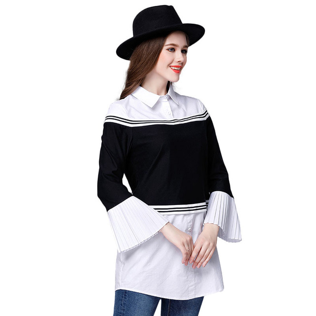 ae1fd6386f8 Black White Contrast Spliced Shirt Plus Size Women Top Off Shoulder Style  Bell Sleeve Blouse xl to 5xl