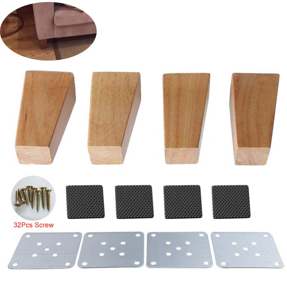 4pcs 10cm Height Wooden Furniture Legs Right Angle Trapezoid Sofa Table Feet Couch Dresser Armchair Foot Oak Wood More Gifts