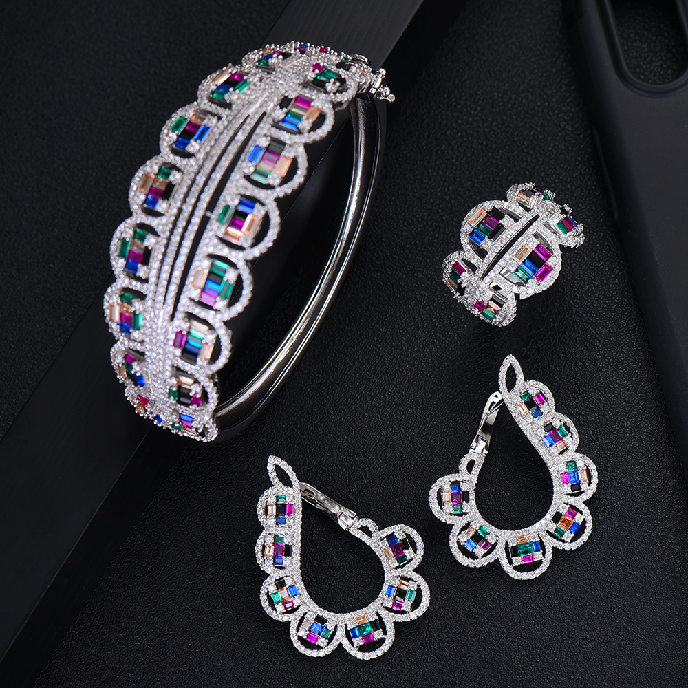 GODKI NEW Luxury 3pcs EARRING Bangle Ring Sets For Women Wedding Cubic Zircon Crystal Engagement DUBAI