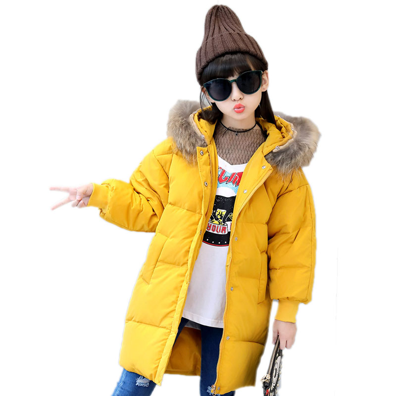 girls long winter coats 2017 new thicken wark kids winter jackets for girls duck down solid hooded children outwear -30 degree 2016 winter jacket girls down coat child down jackets girl duck down long design loose coats children outwear overcaot