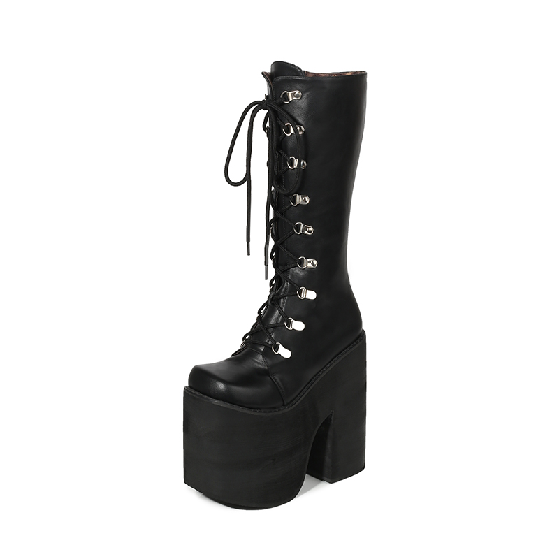 16cm Heel Motorcycle Boots Black Knee High Boots Punk Cosplay Boots Fashion Goth Wedges Platform High Heels Boots Women Shoes