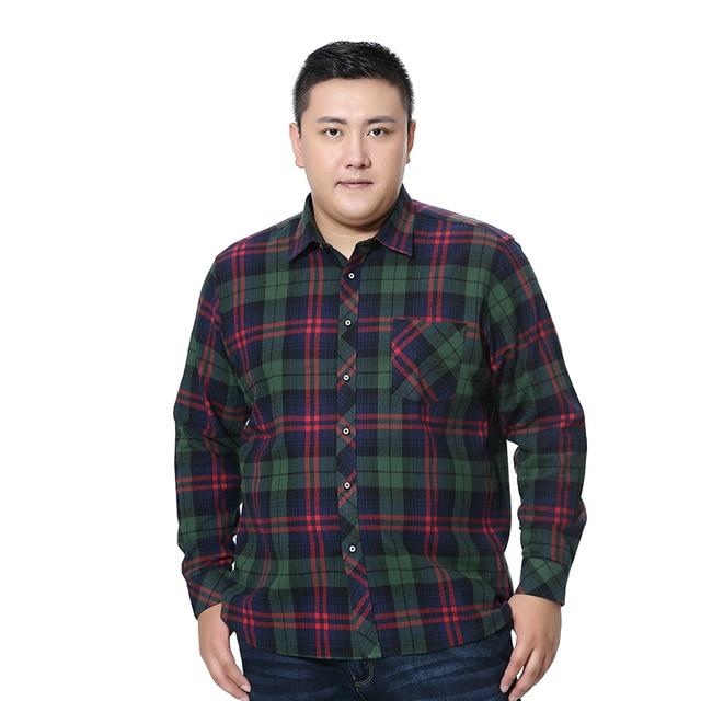 Além de Grande Tamanho Grande 5XL 6XL 7XL 8XL 100% Algodão Xadrez Casuais Camisa de Manga Comprida Nova Primavera Moda de Alta Qualidade homens da camisa