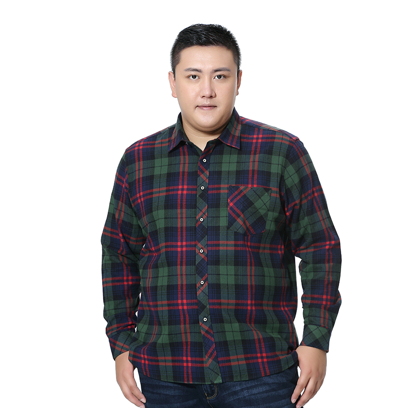 Plus Big Large Size 5XL 6XL 7XL 8XL 100% Cotton Plaid Casual Shirt Long Sleeved New Spring High Quality Fashion Shirt Men