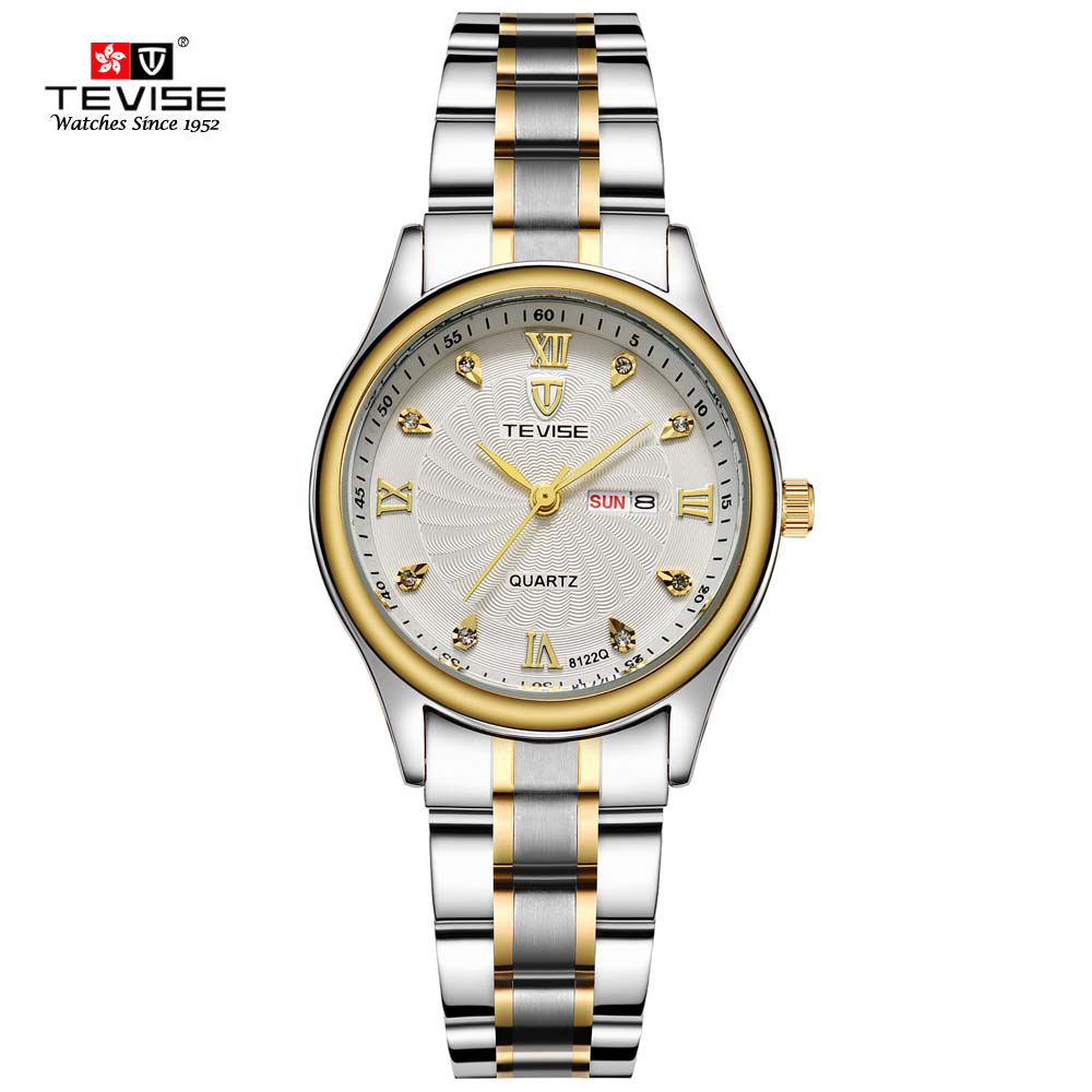 New TEVISE Luxury Women Watch Stainless Steel Quartz wrist watch Hours Clock Ladies Fashion Casual Watches Relogio Feminino new brand relogio feminino date day clock female stainless steel watch ladies fashion casual watch quartz wrist women watches