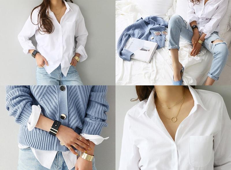 Spring One Pocket Women White Shirt Female Blouse Tops Long Sleeve 21