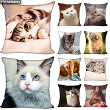 New Arrival Cat Pillow Cover Bedroom Home Office Decorative Pillowcase Square Zipper Pillow cases Satin Soft