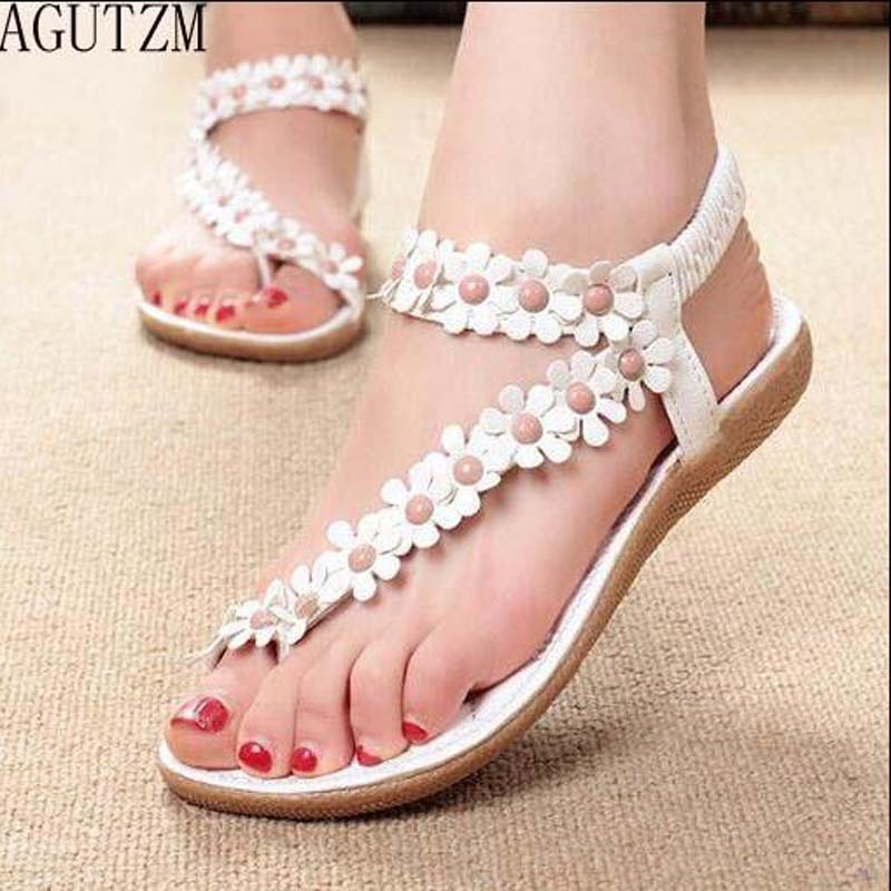 AGUTZM 2018 Women Sandals Summer Style flowers Fashion Peep Toe Jelly Shoes Sandal Flat Shoes Woman v89 marlong women sandals summer new candy color women shoes peep toe stappy beach valentine rainbow jelly shoes woman