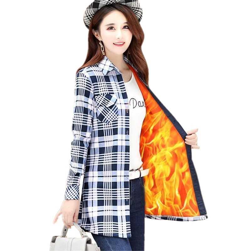 ベルベット厚い暖かい女性のロング格子縞のシャツ女性フルスリーブのトップス M-XXXL 冬のチェックブラウス Blusas Femininas シュミーズ秋