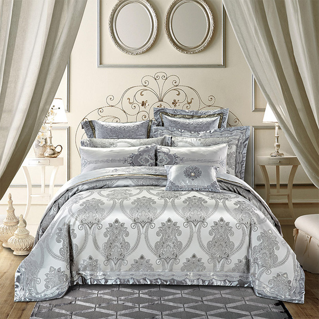 gold silver color luxury royal bedding sets 469pcs king queen size embroidery