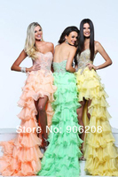 Stunning chiffon high low dress with beautiful jeweled detail and strapless sweetheart bust