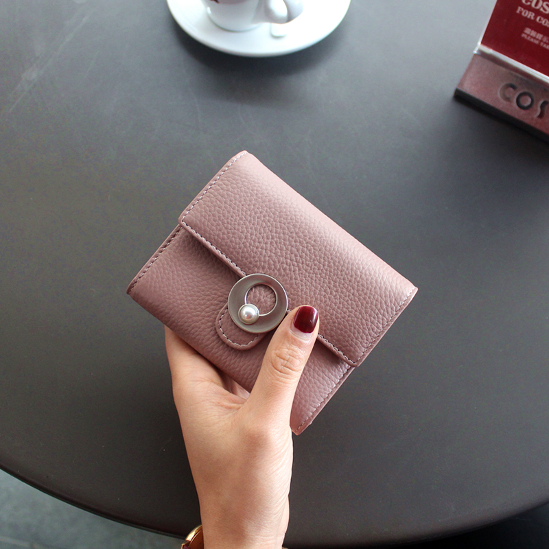 Monedero Unisex Solid Kawaii Hot Sale 2018 New Brand Of Leather Ladies Short Wallet Buckle Pearl Simple Small Money And Pocket