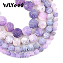 WLYeeS Natural Stone Purple Weathered carnelian beads 6 8 10 12mm Religious Round Frosted Loose Bead Jewelry Bracelet Making DIY