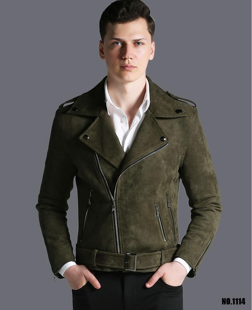 Короткая мужская куртка осень зима, новая модная армейская зеленая замшевая Повседневная куртка с отворотом, мужская верхняя одежда! S 3XL