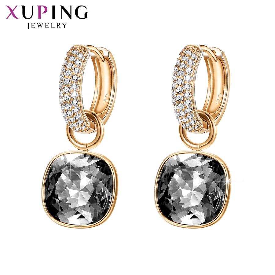11,11 ofertas Xuping pendientes de lujo exquisito caliente vender cristales de Swarovski Color plateado pendiente de la boda para las mujeres de regalo