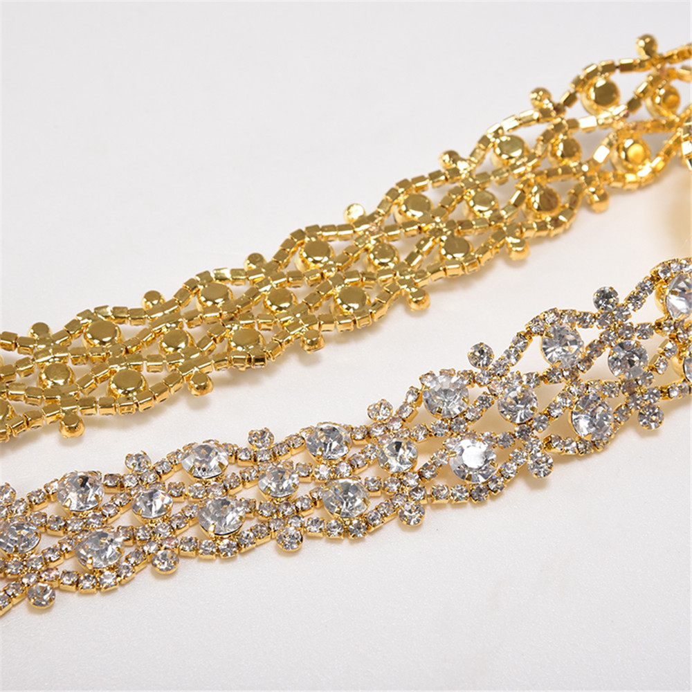 Купить с кэшбэком Handmade Rhinestone Belt Crystal Wedding Bridal Belt Sash Satin Ribbon Gold Silver Wedding Accessories New
