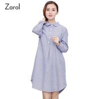 Cotton Linen Stripe Shirt Dresses Plus Size Spring Autumn Women Casual Dress Fashion Blue Women Clothing