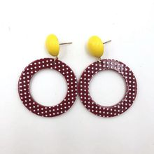 Hollow Geometric Round Women Stud Earrings Vintage Acrylic Dot Fashion Jewelry