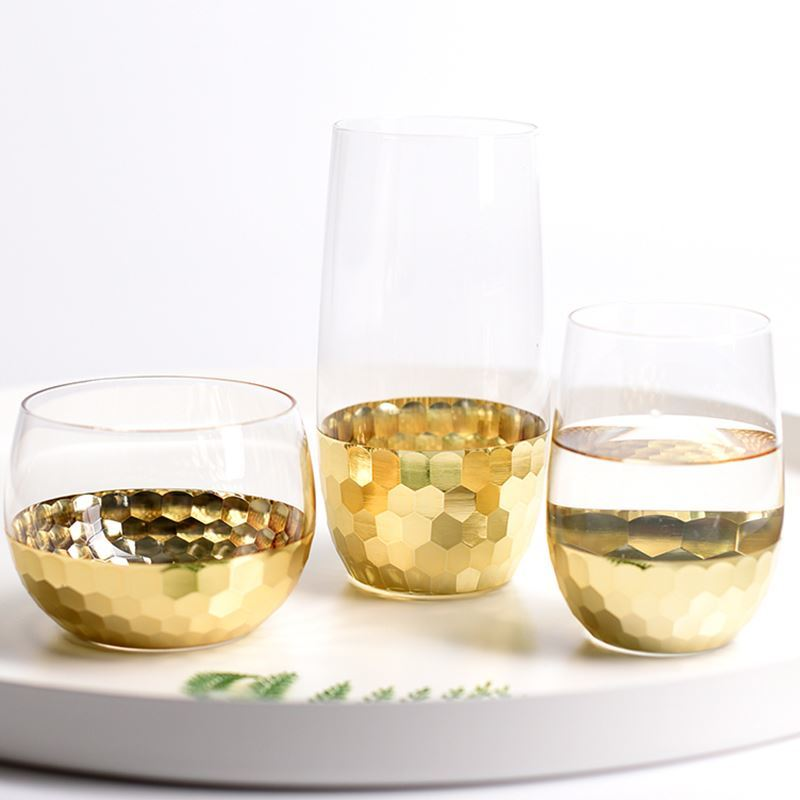 Wine-Glasses Pudding Fresh-Style Dessert Milk-Shake Gold-Plated Nordic Crystal Mousse-Cup