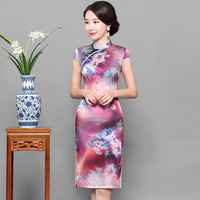 2019 New Purple Women Silk Qipao Short Plus Size Chinese Traditional Dress Lady Sexy Mandarin Collar Cheongsam Vestidos S XXXL