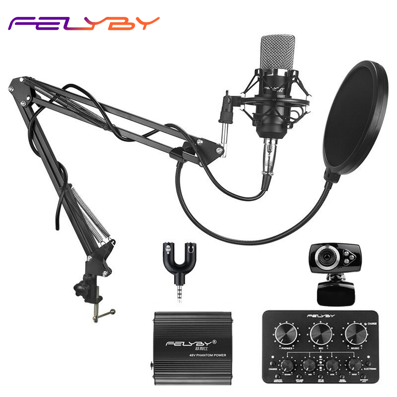 heat! Live broadcast sound card professional bm 700 condenser mic with webcam package karaoke microphone felyby professional live condenser microphone for computer and phone bm 800 karaoke microphone multi function live sound card